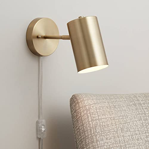 Carla Modern Wall Lamp Polished Brass Plug-in Light Fixture Adjustable Cylinder Down Shade