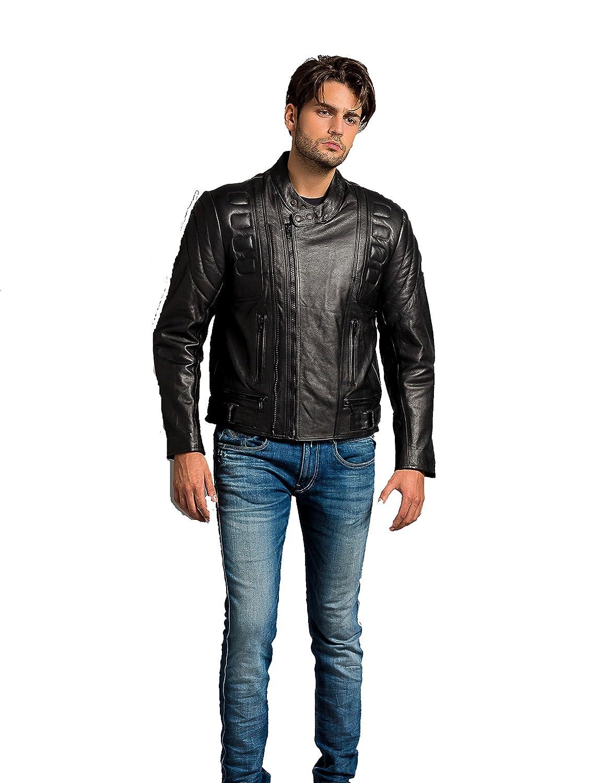 Cazadora motera urbana de piel auté ntica para hombre Blemo Ur Leather UR-63