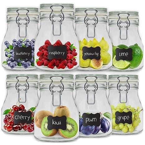 8 x Tarros de Cristal Herméticos con Tapa | 8 x 800ml | Set Botes Envases Cierre de Clip | para Conserva Alimentos | 12 Pegatinas Reutilizables + 1 ...