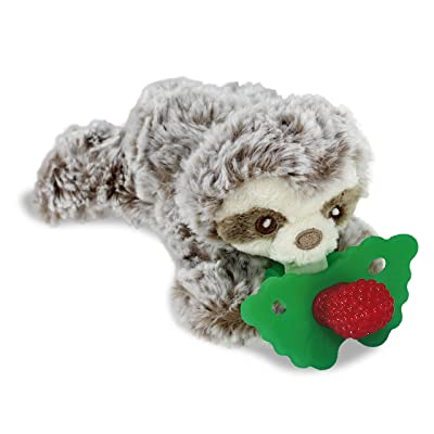 RaZbaby RaZbuddy RaZberry Teether/Pacifier Holder w/Removable Baby Teether Toy - 0M+ - Bpa Free - Sloth : Baby