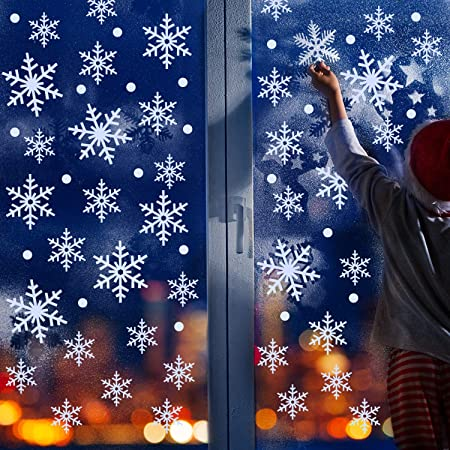 Outus 570 Pieces Christmas Window Clings Christmas Snowflake Decal Stickers Window Clings Decorations for Christmas Frozen Theme Party New Year Supplies 12 Sheets