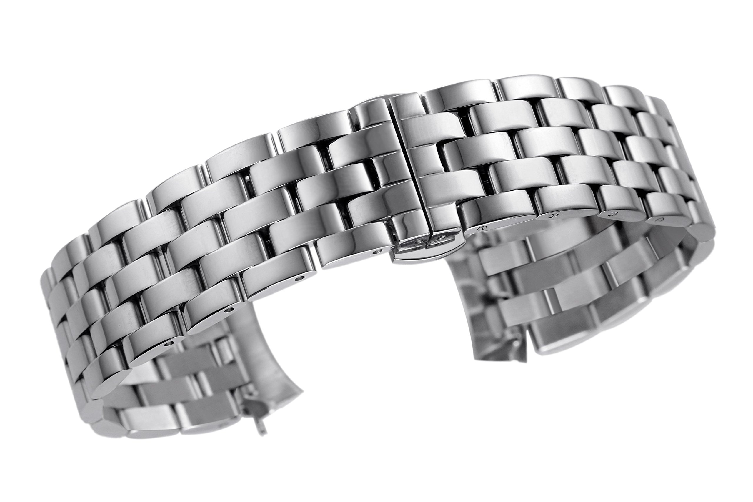 16mm Amazing Luxury Inox Steel SS Watch Bands for Women in Silver Solid Links Curved End Pilot Style