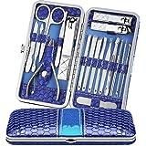 4Mybebe Manicura Set 18 en 1 de acero inoxidable manicura y pedicura profesional manicura con estuche de viaje (Azul)
