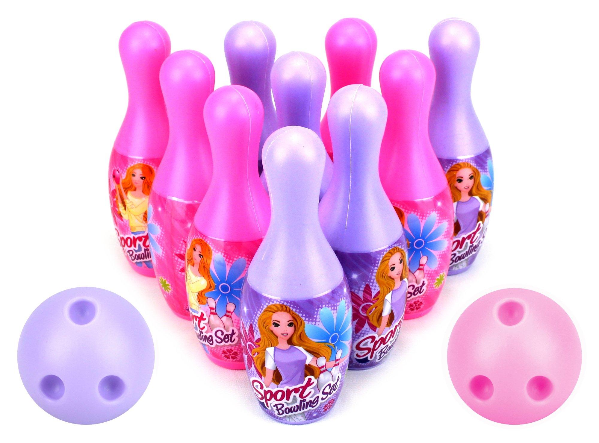 VT Princess Sport Children's Mini 12 Piece Toy Bowling Set w/ 10 Pins, 2 Bowling Balls