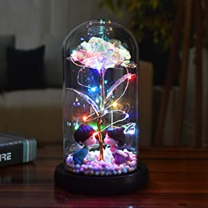 Galaxy Rose Beauty and The Beast Gifts Rose flower Gifts for Girlfriend,Her,Mom,Women roses Artificial Flower Gift Valentine Day Mothers Gifts Forever Infinity Crystal Glass Flowers Birthday Gifts (A)