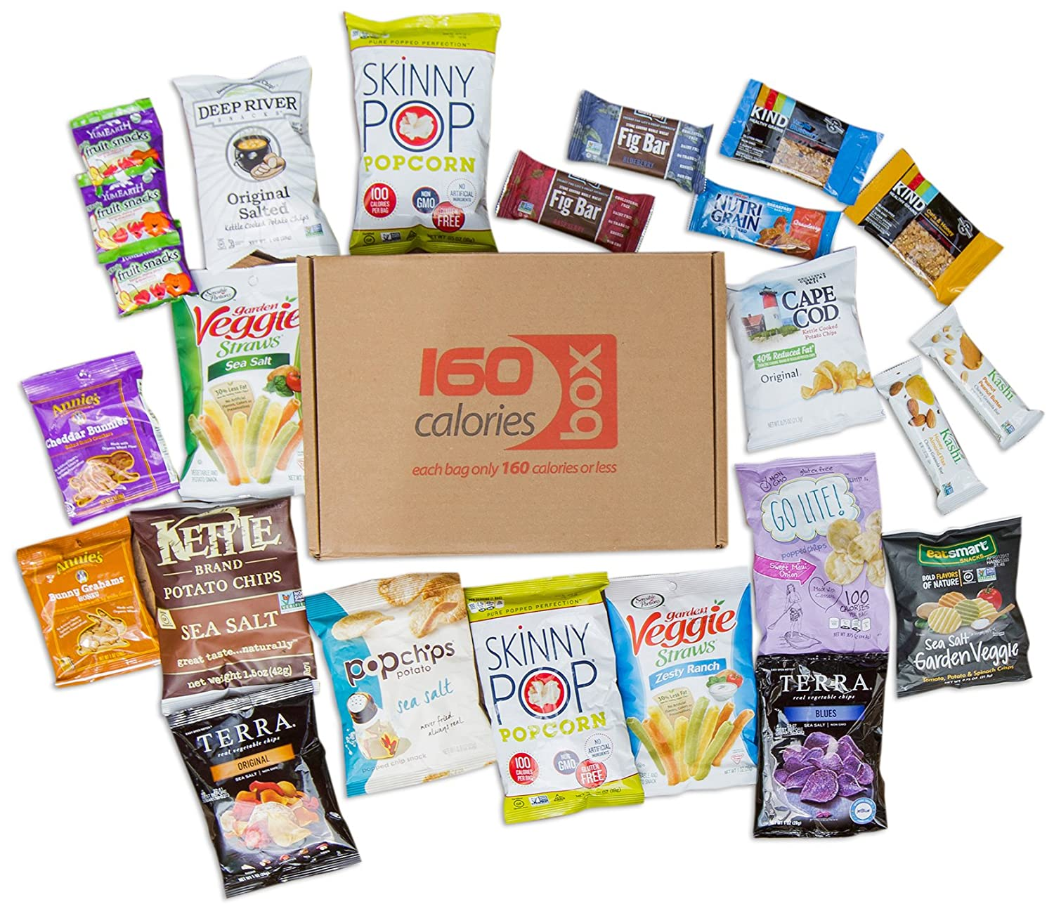 Healthy Snacks Care Package Box Under 160 Calories | Sweet & Nutritious  Bars, Nuts, Potato Chips, Veggie Straws & Others | For School, Adults,  Work,
