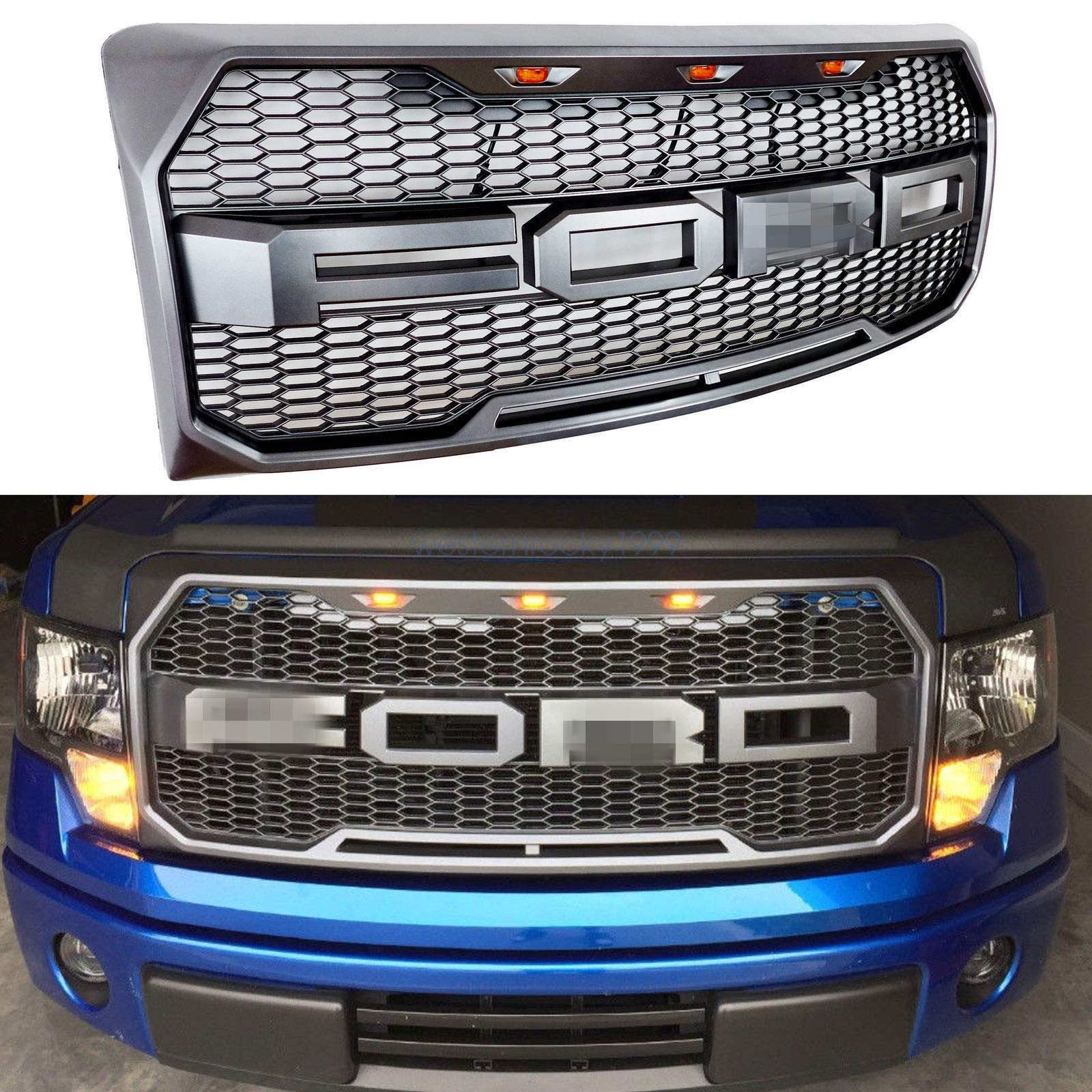 Front Grille Fits 2009-2014 FORD F150 Raptor Style Grill Kits With Amber LED Light and F&R Letter (Grey)