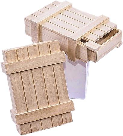 Caja en madera natural con objetos con apertura secreta decoupage. Esta caja de tamaño mediano tiene una abertura secreta en el lado de la caja.: Amazon.es: Hogar