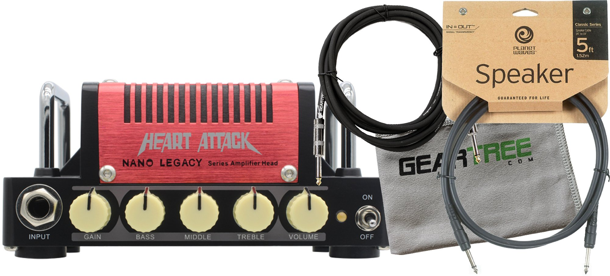 Hotone Mini Amp (5 watts) Heart Attack - Mesa Rectifier w/ Polish Cloth, Instrument Cable, and Speaker Cable