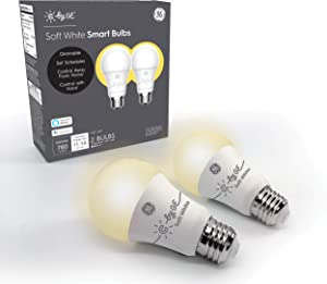 C by GE A19 Smart Light Bulb - Soft White Light Bulb, 2-Pack, Works with Amazon Alexa and Google Home, Bluetooth Light Bulb