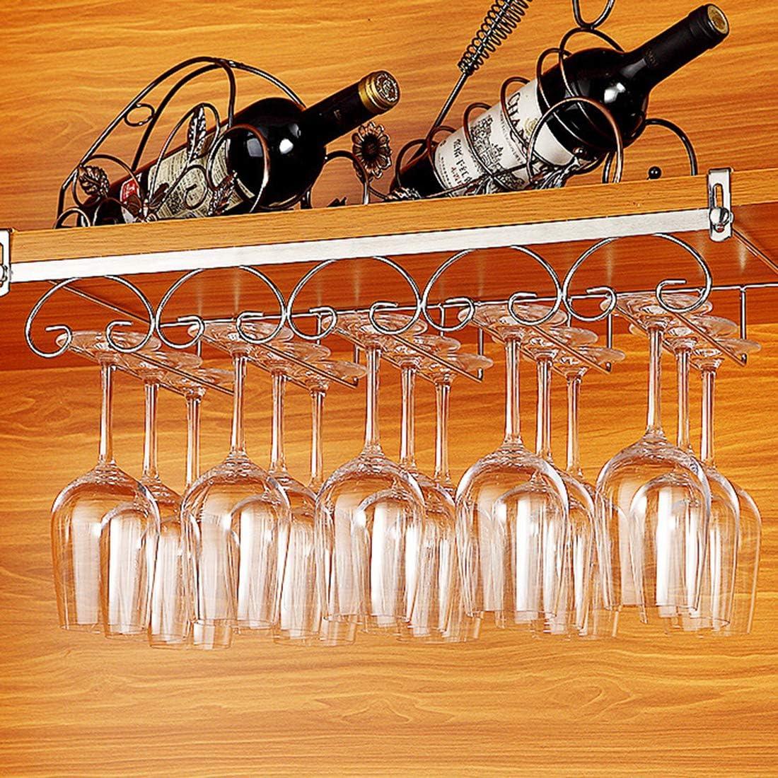 Support de Verre /à Vin avec 3 Rails pour 6-9 Verres 34 x 24 x 4,5cm Tosbess Porte-Verres Suspendu
