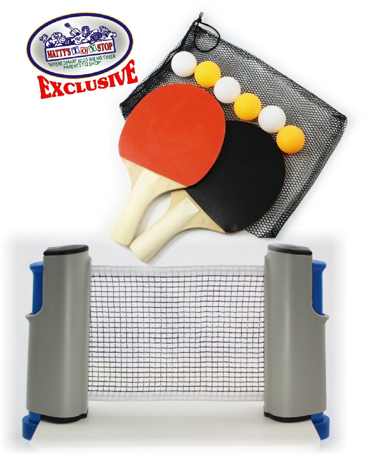 Matty's Toy Stop Deluxe Table Tennis (Ping Pong) To Go with Fully Adjustable Net, 2 Paddles, 6 Balls (3 Orange & 3 White) & Mesh Storage Bag by Matty's Toy Stop (Image #4)