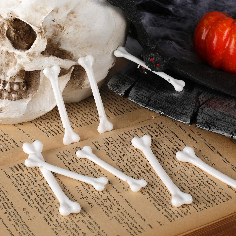 meekoo 3 Juegos de Pl/ástico Blanco Hueso Huesos de Halloween Huesos de Halloween Decoraci/ón Esqueleto para Suministros de Disfraces de Tema Cavern/ícola 36 Piezas Totalmente