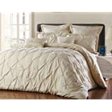 Unique Home 8 Piece Reversible Pinch Pleat Comforter Set Fade Resistant, Wrinkle Free, No Ironing Necessary, Super Soft, Queen, Taupe