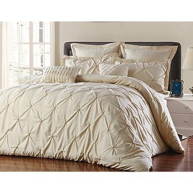Unique Home 8 Piece Reversible Pinch Pleat Comforter Set Fade Resistant, Taupe, King