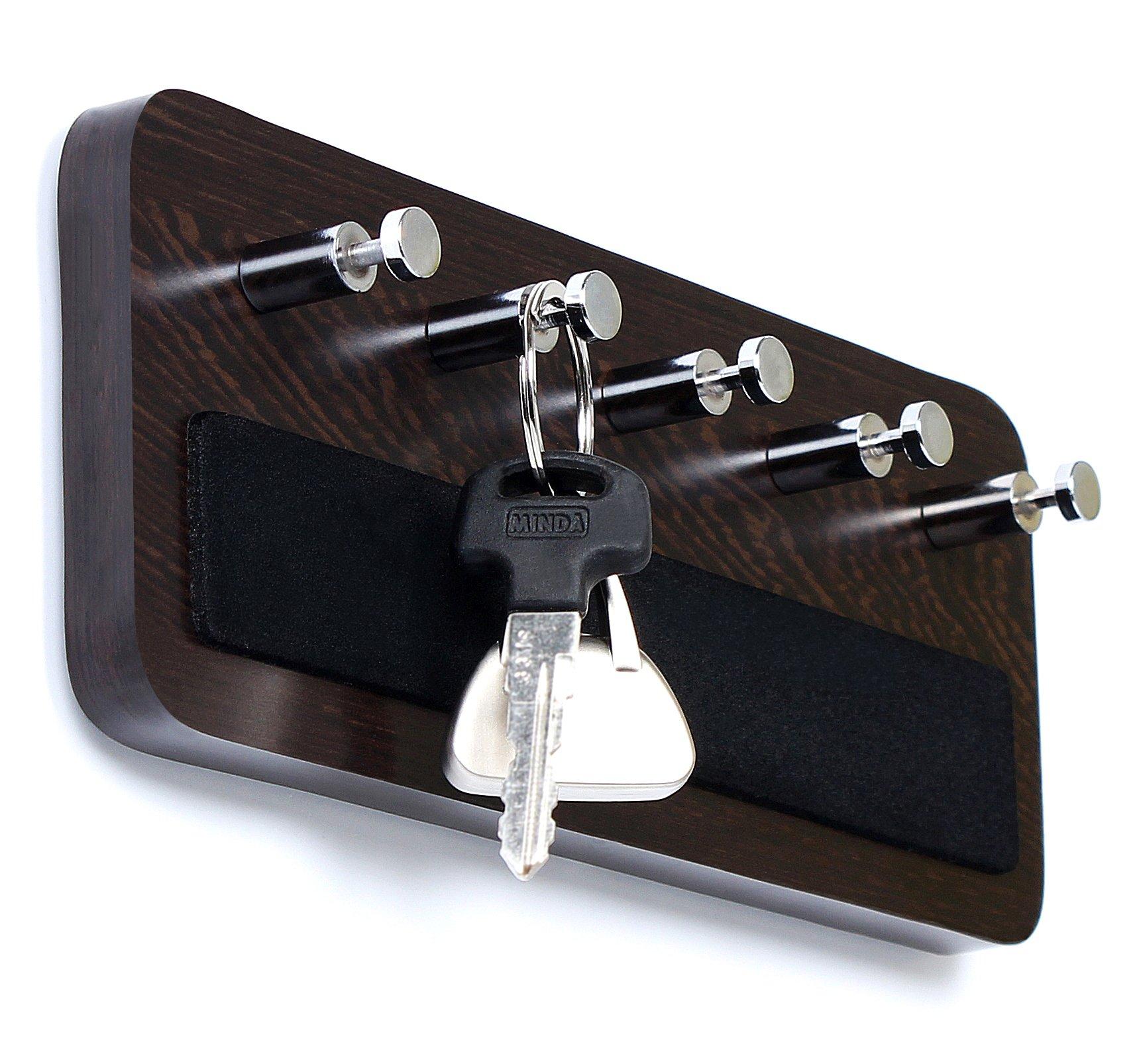 Bluewud Skywood Wall Mounted Key Holder/Key Rack Hooks (Wenge, 5 Keys, Big)