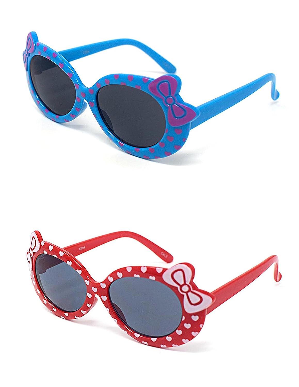 1 x azul 1 x niños de color rojo niñas niños con estilo lindo diseñador gafas de sol de alta calidad con un arco y el corazón estilo UV400 gafas de sol gafas de protección UVA UVB