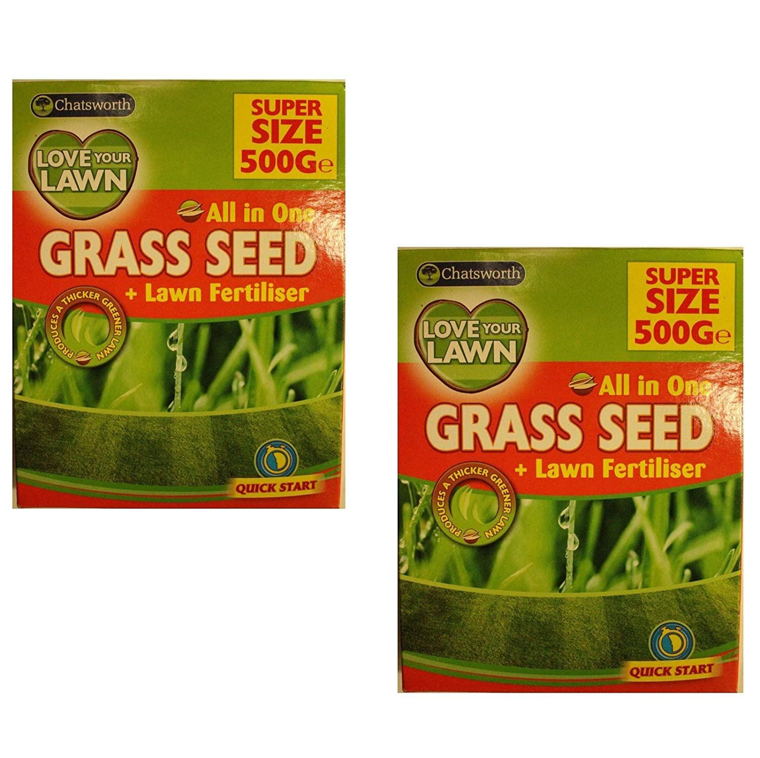 All In One Grass Lawn Seed & Fertiliser ( 2 Pack of 500gm Mixture) -- For Thicker Greener Lawn