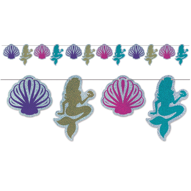 Beistle Mermaid & Seashell Streamer | Mermaid & Under The Sea Party Supplies (2-Pack)