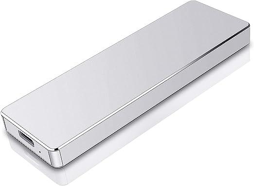 ハードディスク1TB HDD 外付け Type C/USB3.1 外付けハードディスク 超薄型 ポータブルハードディスク 電源不要 PS4/Latop/Windows/Mac/Android 適用(2TB,銀)
