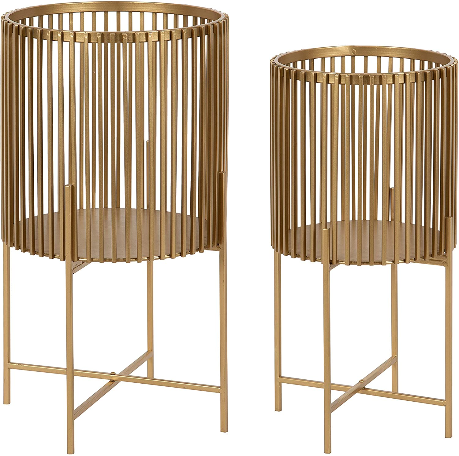 Amazon Com Kate And Laurel Paynter Modern 2 Piece Metal Floor Planter Set With Foldable Stand Gold Home Kitchen