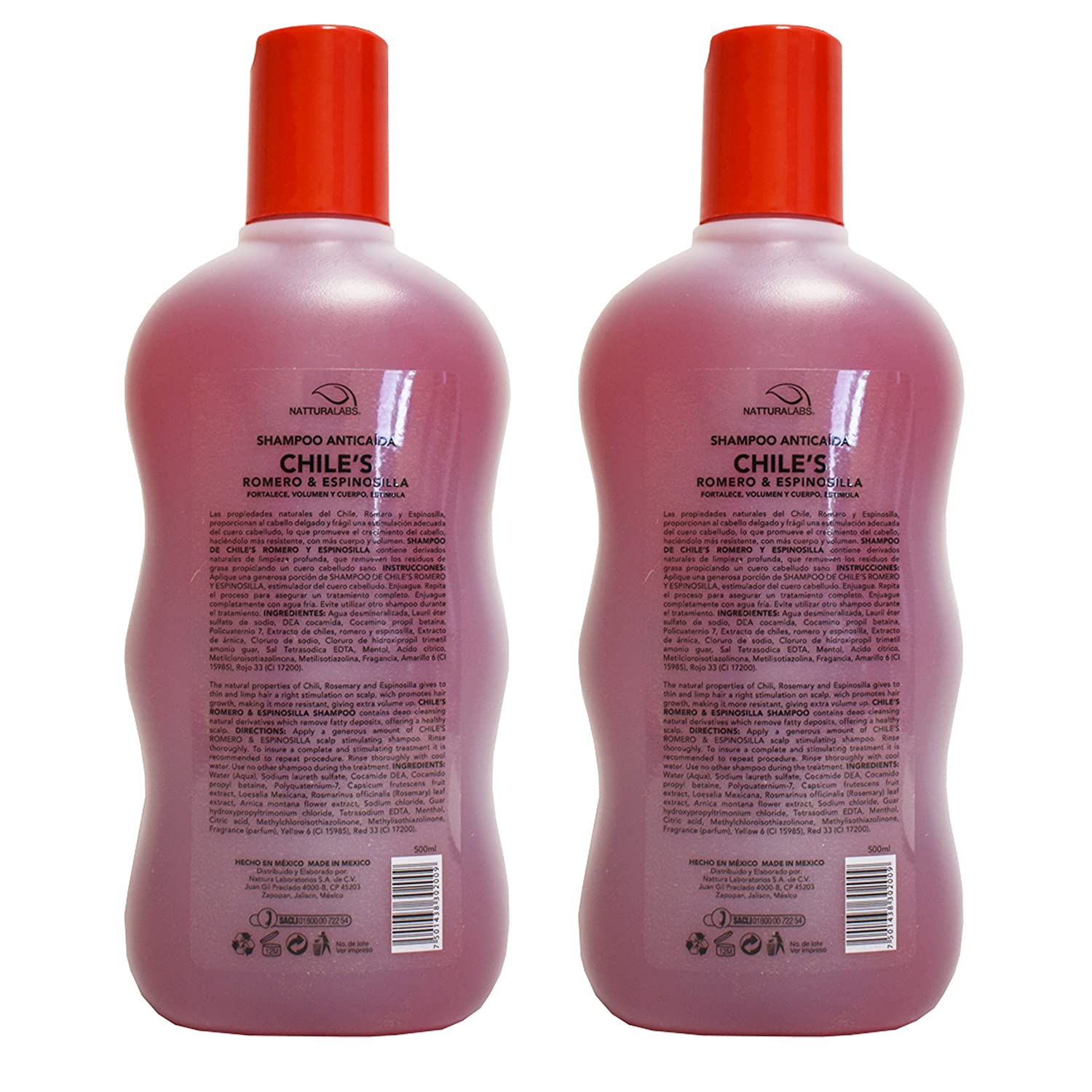 Amazon.com : 2 X Natturalabs Chili Rosemary Shampoo/Anticaida Chiles Romero & Espinosilla 16.9oz : Beauty