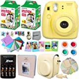 FujiFilm Instax Mini 8 Camera YELLOW + Accessories KIT for Fujifilm Instax Mini 8 Camera includes: 40 Instax Film + Custom Case + 4 AA Rechargeable Batteries + Assorted Frames + Photo Album + MORE