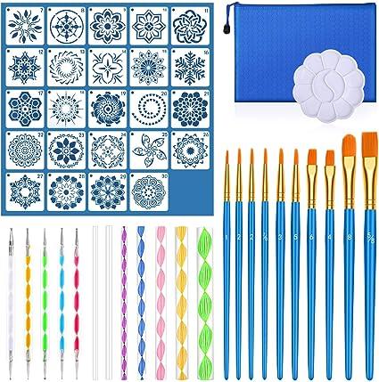 Audab 49 Pcs Mandala Dotting Tools Kit with Mandala Stencil for Painting Rocks Painting Mandalas and Drafting Mandala Dotting Tools Set
