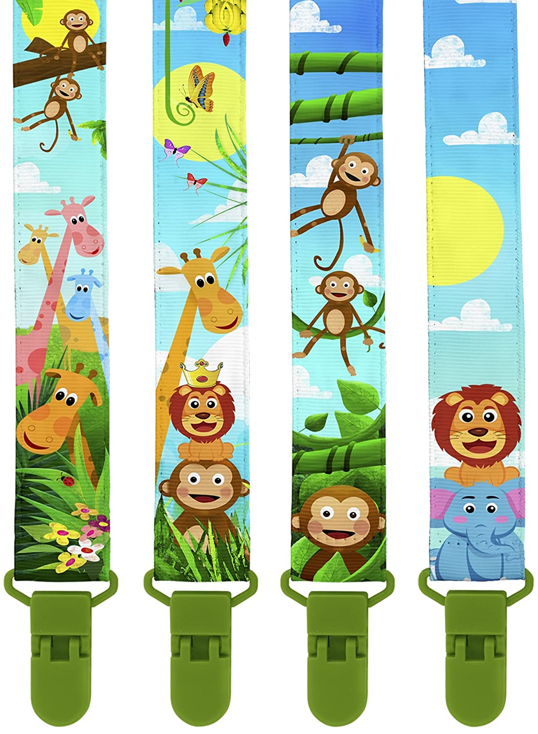 Premium Pacifier Clips by KiddosArt. Set Of 4, 2-Sided Of JUNGLE THEME Art, Stunningly Designed Pacifier Holder, Pacifier Leash, Baby Pacifier Clips for Girls and Boys. KIDDOS-PC-JUNGLE_THEME