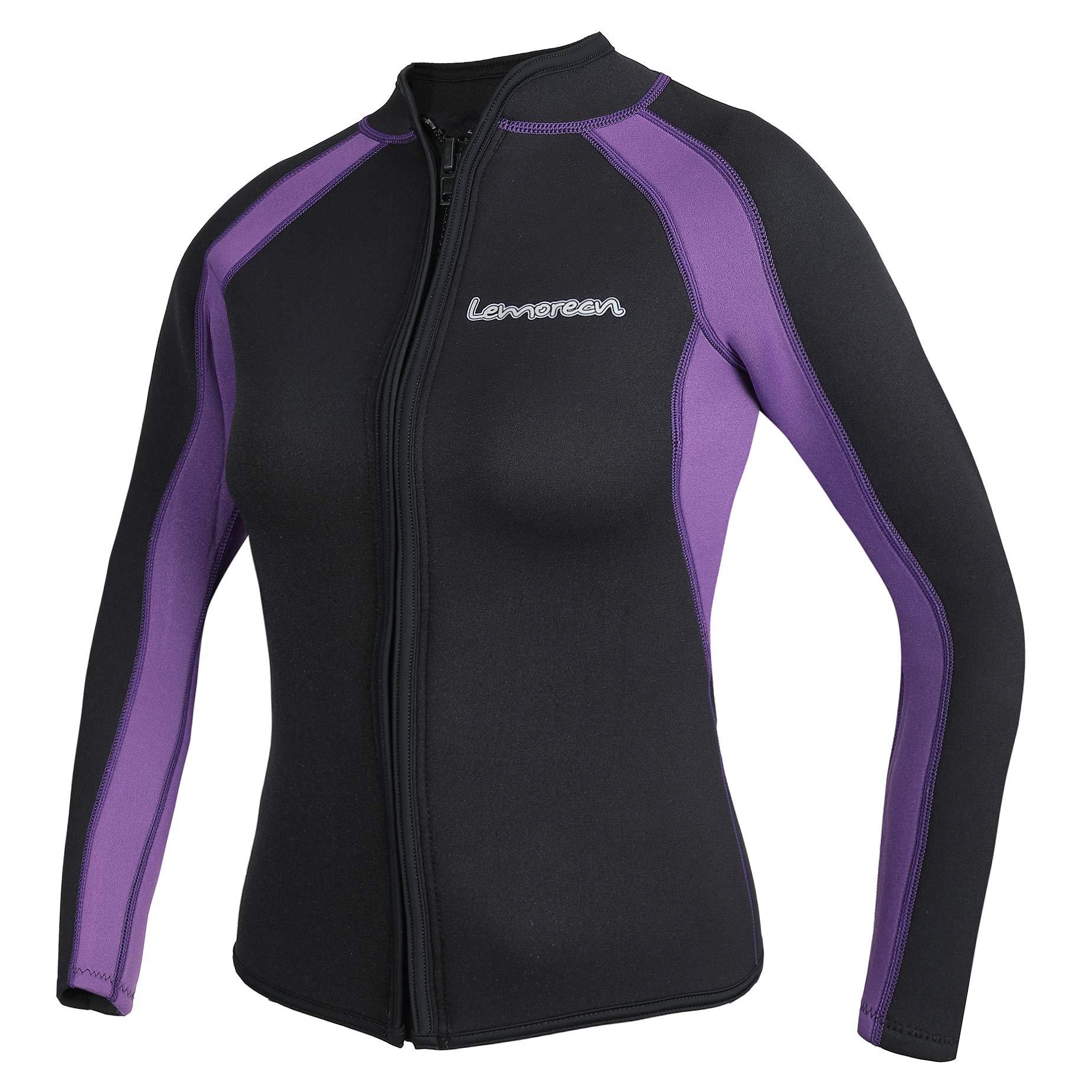 Lemorecn Women's 3mm Wetsuits Jacket Long Sleeve Neoprene Wetsuits Top(2041blackpurple8)