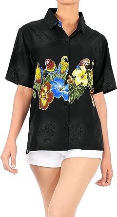 Mujeres Ropa de Playa con Botones de la Blusa de la Camisa Hawaiana de Manga Corta de Las se�Oras de Cuello Negro: Amazon.es: Ropa y accesorios