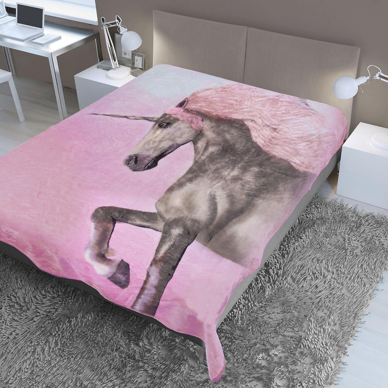 Grande per Letto Matrimoniale 150 x 200 cm 150 x 200 cm Dreamscene Unicorno Rosa e Marrone Coperta in Visone con Stampa Animalier