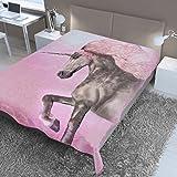 Dreamscene Large Unicorn Faux Fur Mink Throw Fleece Bed Sofa Blanket Thick Warm - 150 x 200 cm