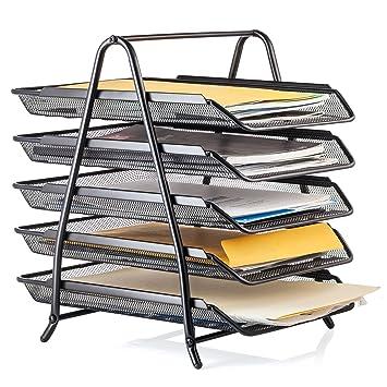Halter Malla de acero estante de 5 niveles bandeja organizador para escritorio tamaño carta - negro