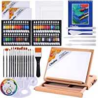 Acrylic Painting Set, Ohuhu 78pcs Artist Set with Wood Table-Top Easel Box, Art Painting Brushes, Acrylic Paint Tubes…