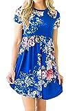 Hibluco Women's Casual Short Sleeve Floral A-line T-Shirt Dress