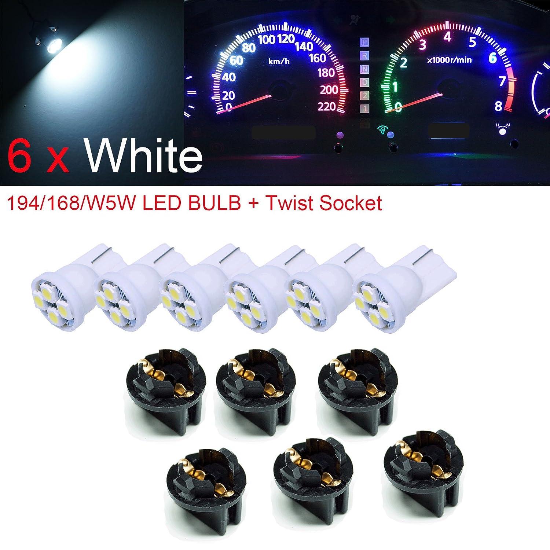 "PA 6 x T10 168 194 Led instrument Panel Dash Light Bulb 1/2"" Twist Lock Socket -12V (White)"