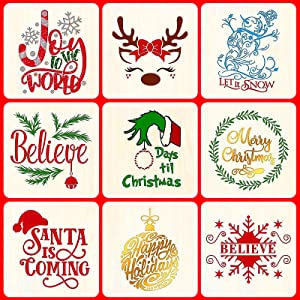 9 Pack Christmas Stencils Templates for Painting on Wood.Reusable Christmas Stencil for Home Decor Fabric Canvas Wall Window Scrapbook DIY Painting.