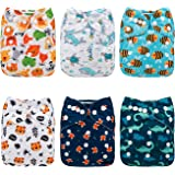 Floating World Mama Koala One Size Baby Washable Reusable Pocket Cloth Diapers 6 Pack with 6 One Size Microfiber Inserts