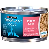 Purina Pro Plan FOCUS Indoor Care Salmon & Rice Entree in Sauce Adult Wet Cat Food - (24) 3 oz. Cans