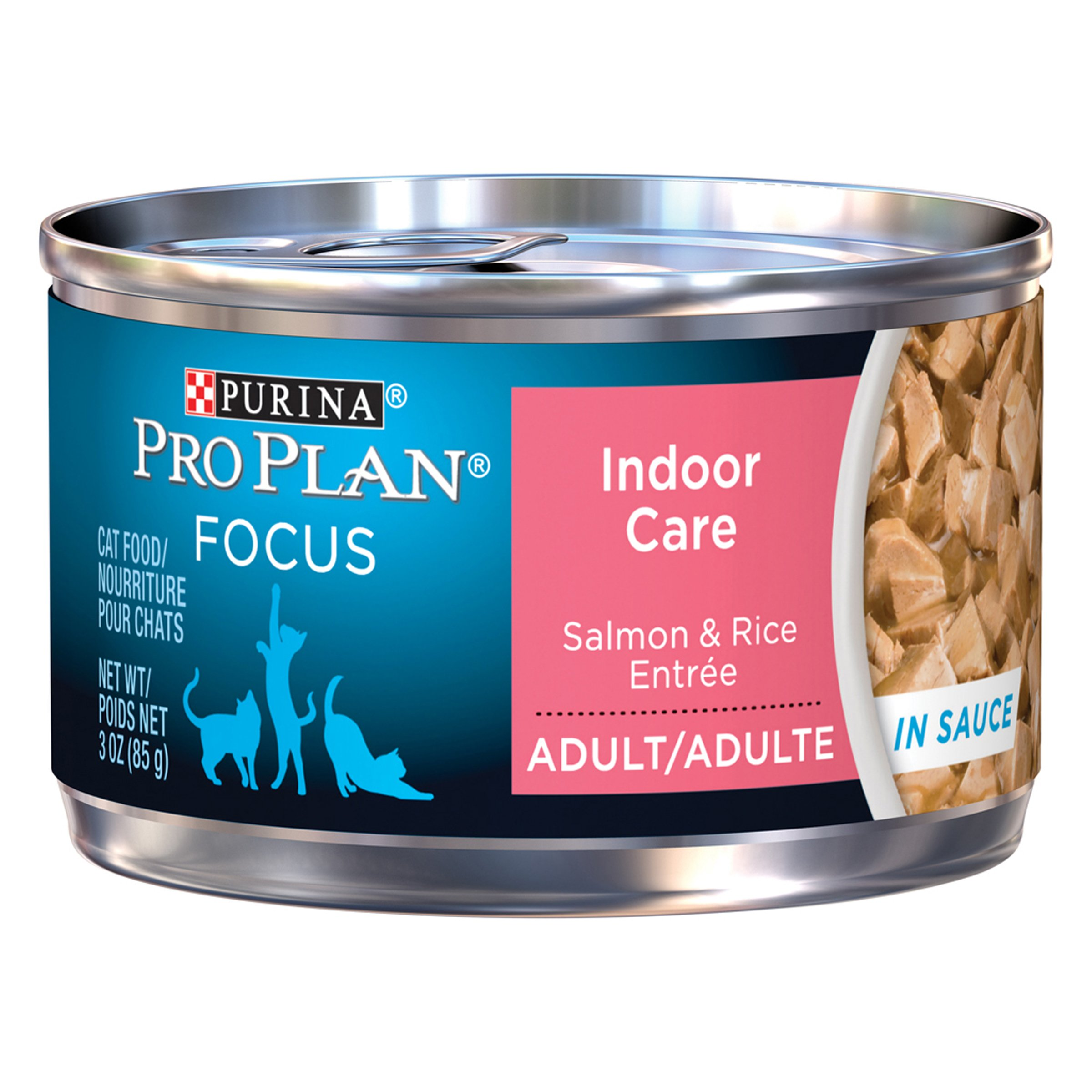 Purina Pro Plan Wet Cat Food, Focus, Adult Indoor Care Salmon and Rice Entre, 3-Ounce Can, Pack of 24
