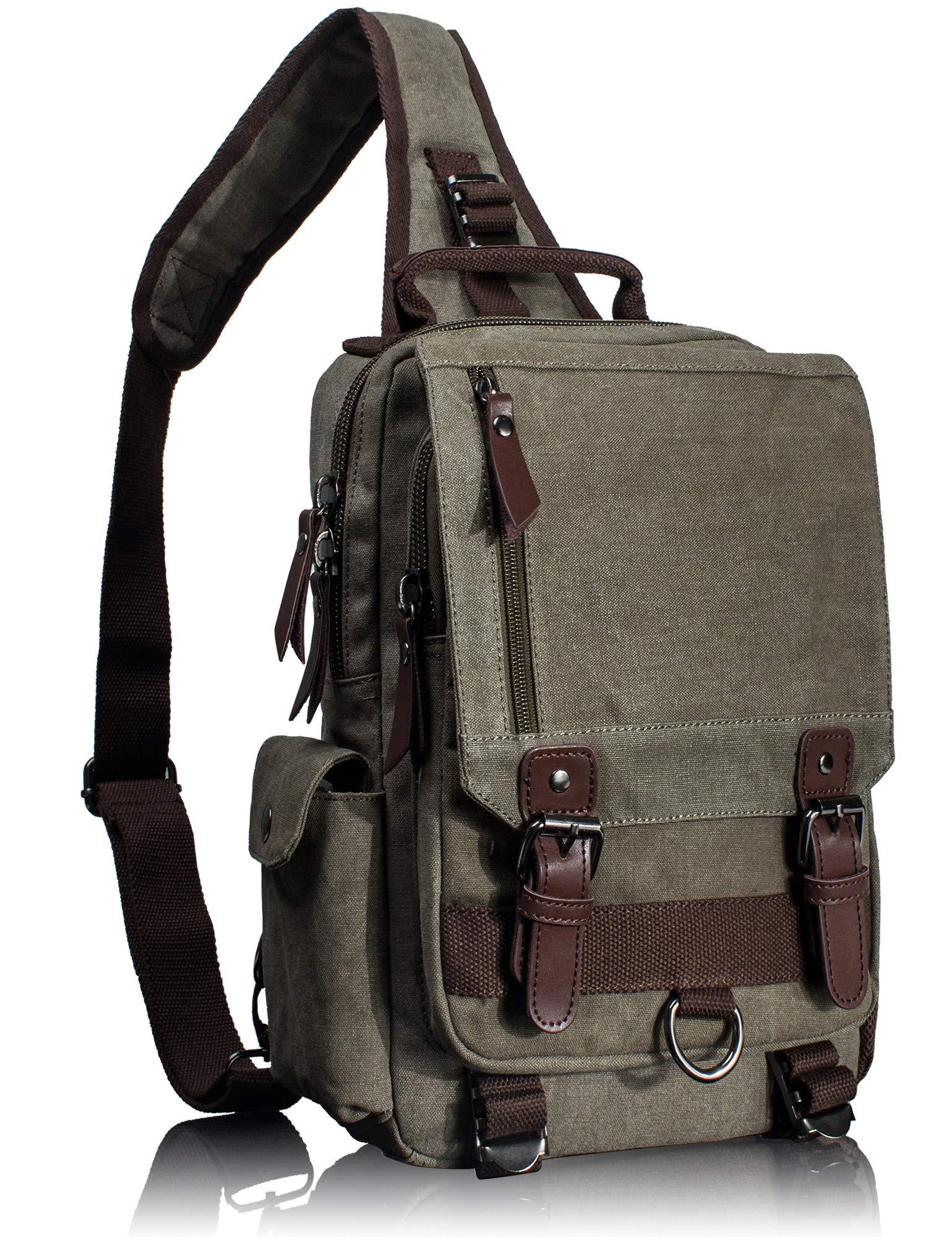 Leaper Canvas Messenger Bag Sling Bag Cross Body Bag Shoulder Bag Army Green, L by Leaper