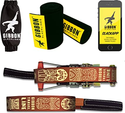 incl 41ft line + 8ft Ratchet Strap with Reinforced Loop Ratchet Protection Gibbon Slacklines Travelline with treewear Black Felt Brown 49ft 50mm//2 Wide Tree and line Protection