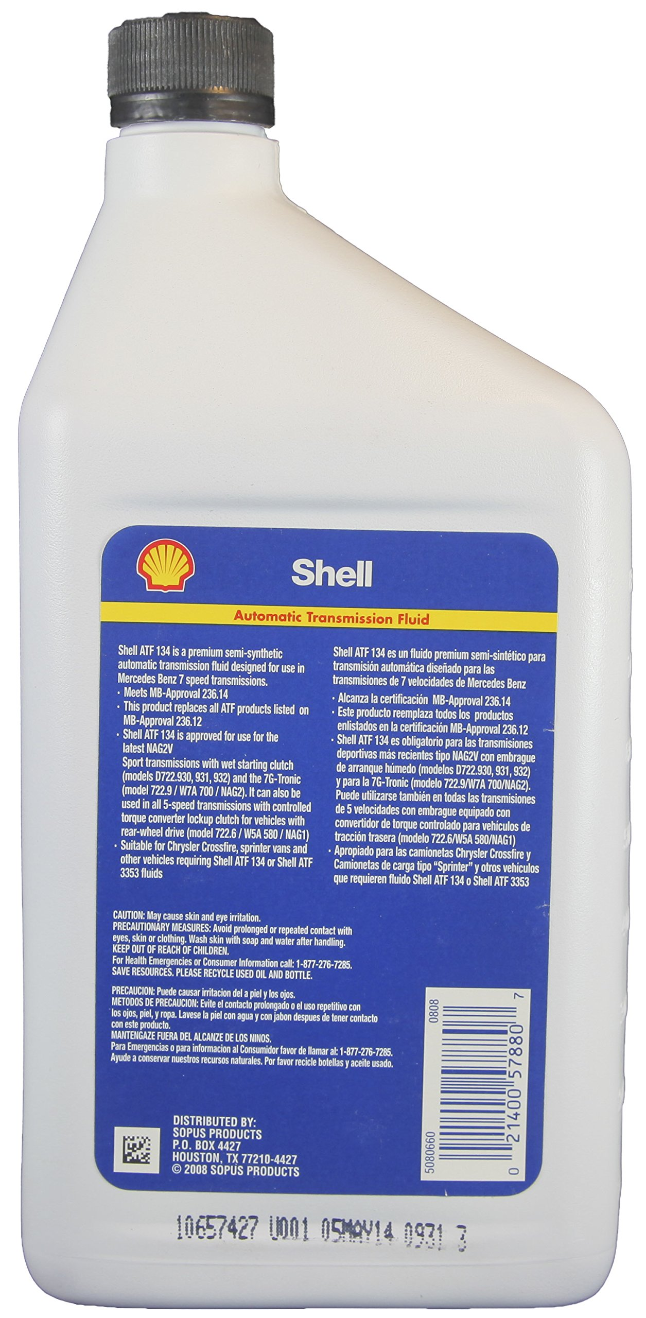Shell ATF 134 Mercedes Benz Transmission Fluid, MB 236.14 and 236.12 - 6 Count (1 QT./946 ml. each) by Shell