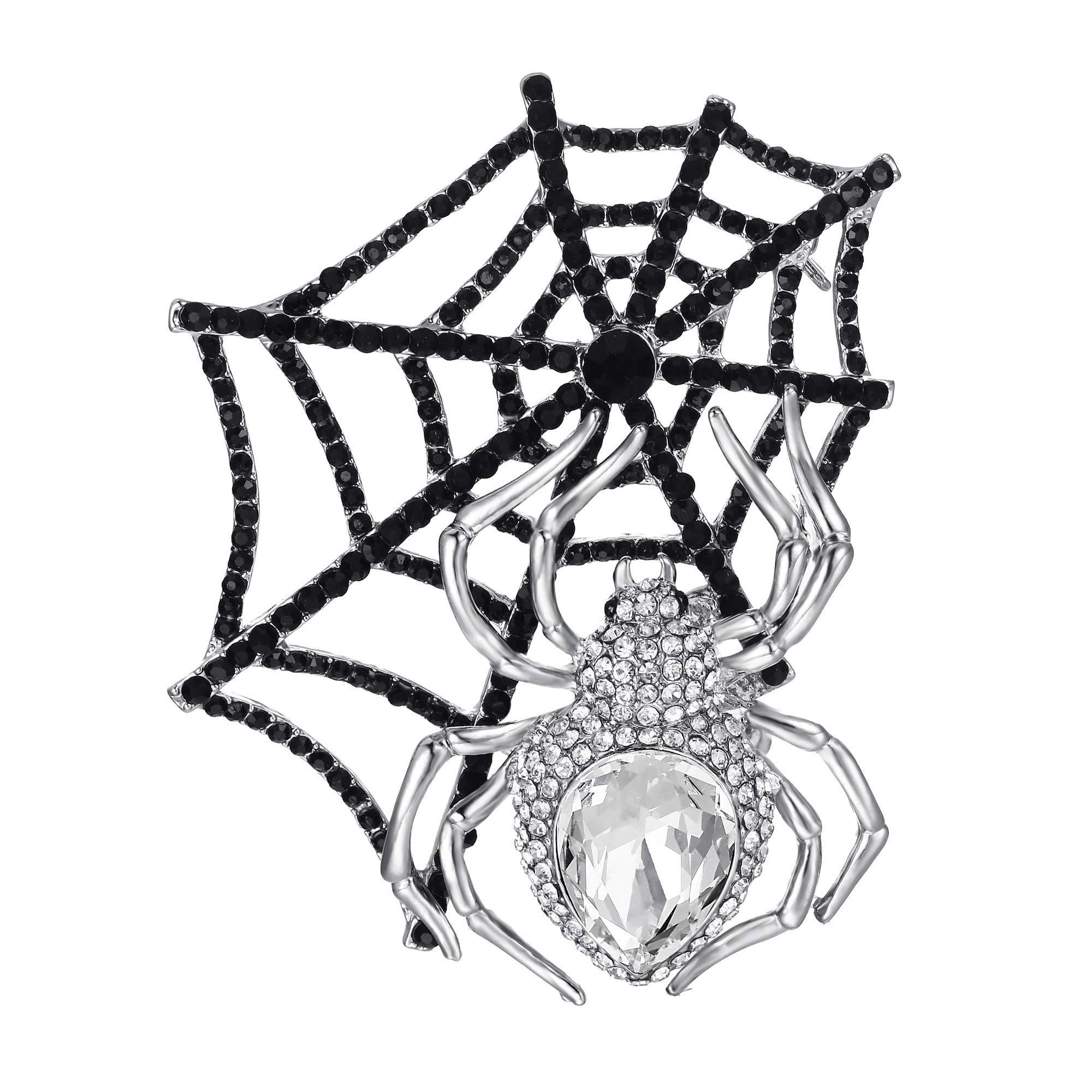 EVER FAITH Austrian Crystal Halloween Gothic Style Spider Web Teardrop Brooch Clear Gold-Tone