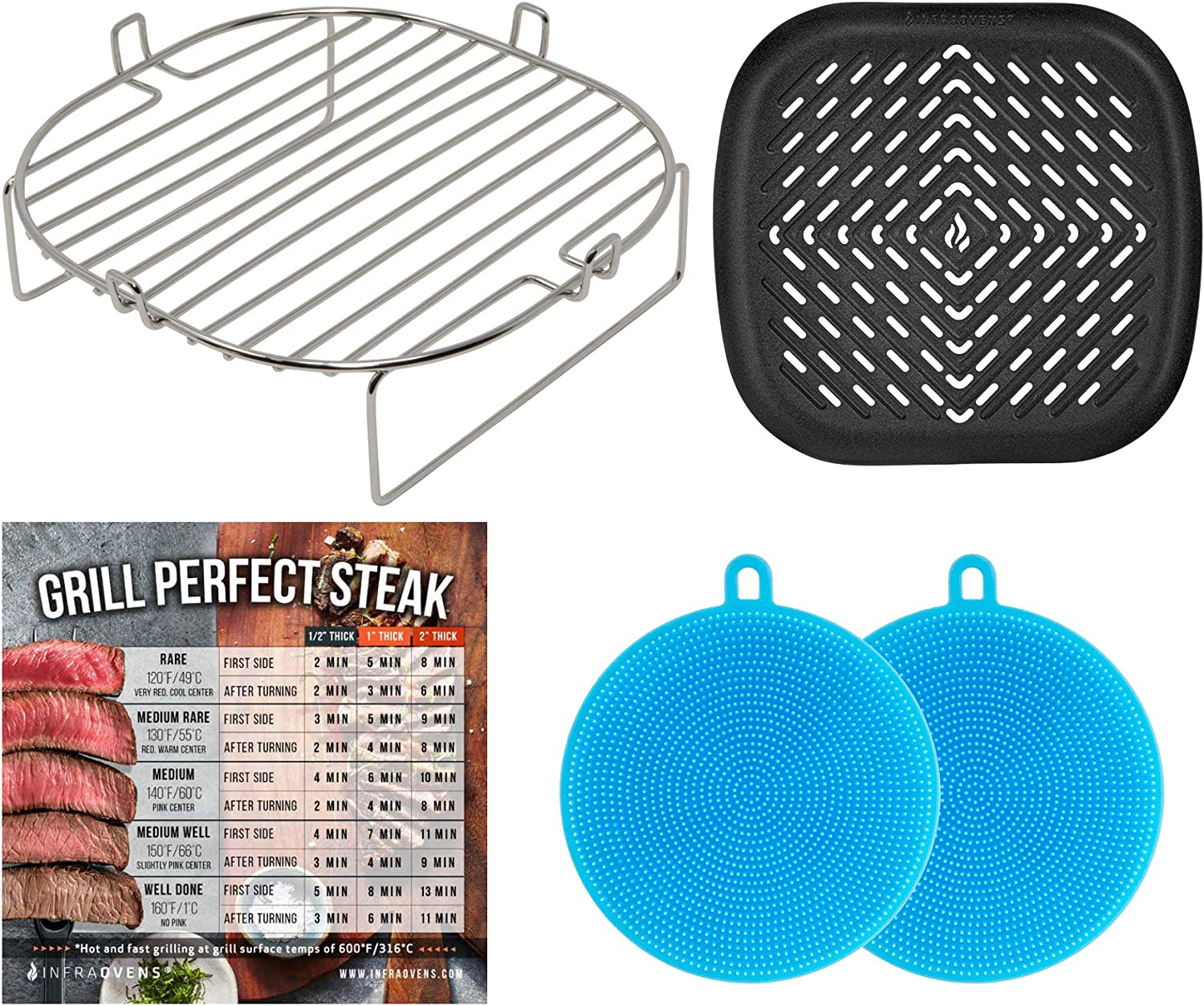 Air Fryer Rack & Pan Compatible with Ninja Foodi Grill, Cosori, Cuisinart, Dash, Power Airfryer Oven, Chefman, NuWave, Gourmia, Instant Pot Vortex, Costway, Emeril Lagasse, Geek Chef, Caynel +More