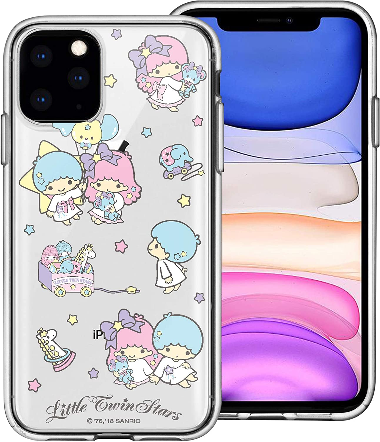 WiLLBee Compatible with iPhone 12 Pro Max Case (6.7inch) Sanrio Cute Border Clear Jelly Cover - Play Little Twin Stars