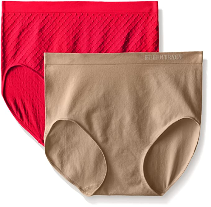 fdc9b06e6dbf Ellen Tracy Women's Jacquard Dot Full Brief Panty, Lipstick/Latte, Medium ( Pack