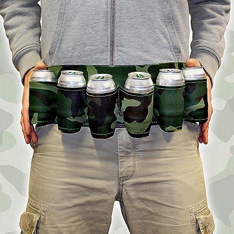 Cinturón porta portavasos cartuccera camuflaje 6 plazas para latas Camouflage con Correa Ajustable Idea regalo B2