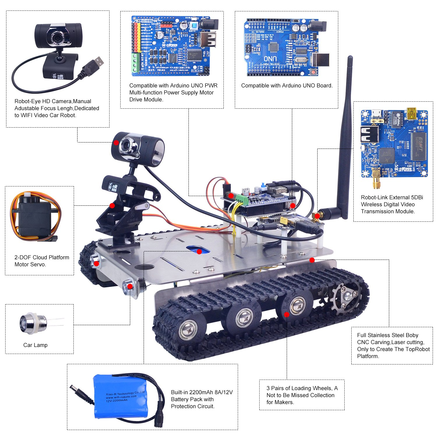 Robotics Tank Chassis w//Remote Controller for Arduino Mechanical Manipulator